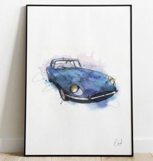 Jaguar E-Type - Big Blue Typo art print