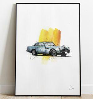 Aston Martin DB5 - James Bond Goldfinger art print