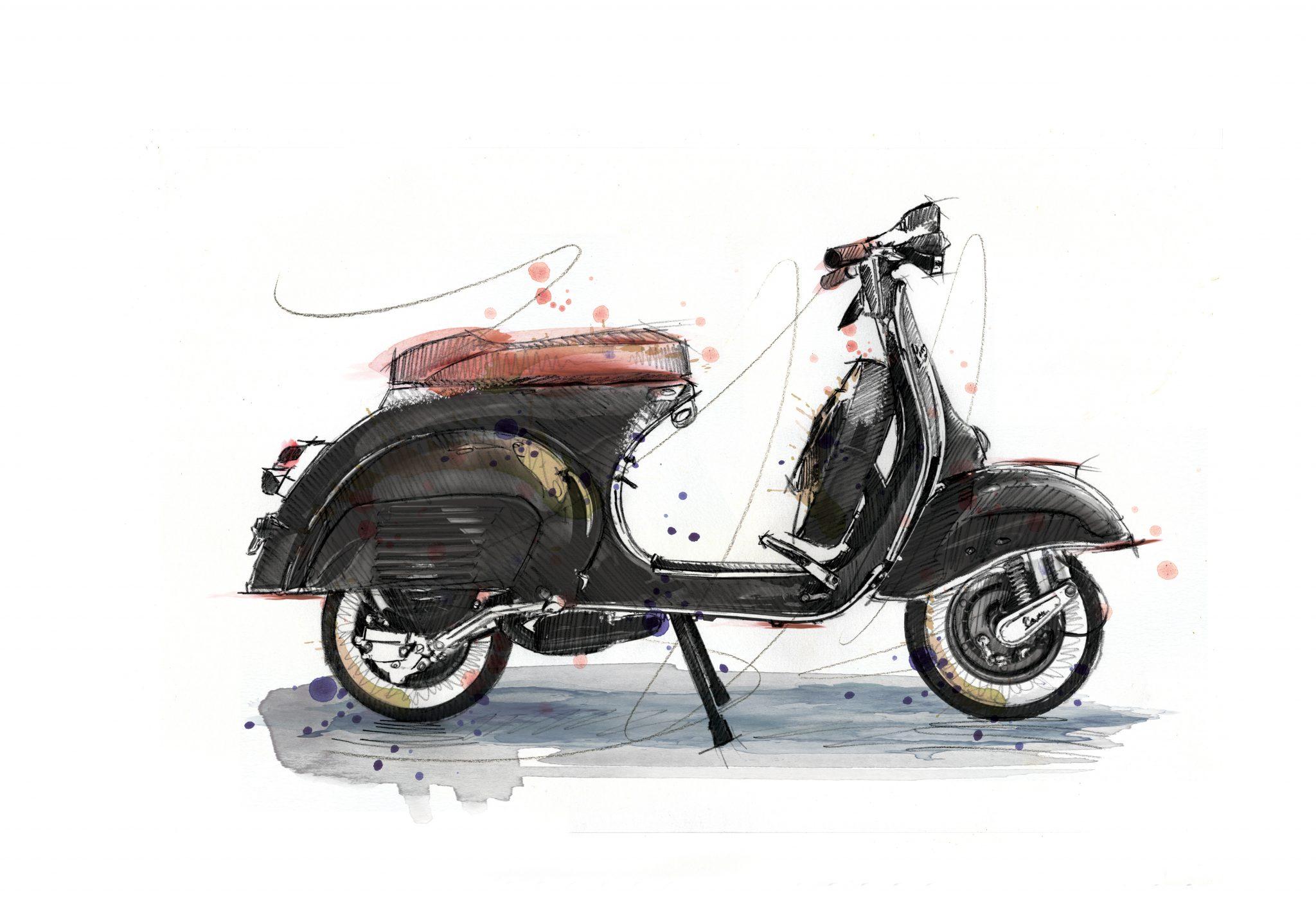 0096 Dm Vespa Black And Tan Art