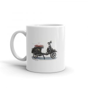 Vespa - Black and Tan, Ceramic Mug