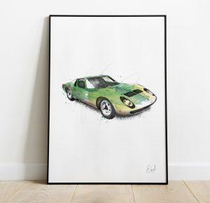 Lamborghini Miura - The Raging Bull art print