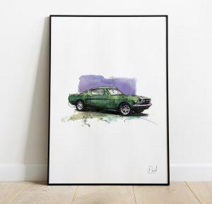Ford Mustang Mint art print