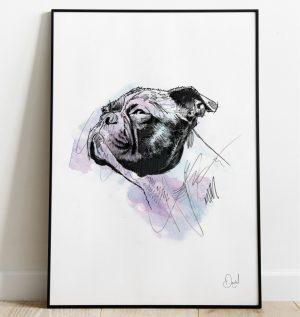 Bull dog - No bull. Just dog art print