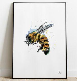 Don't worry Bee happy - Bee art print