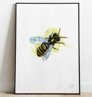 Let it Bee - bee art print