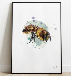 Bee here now - Bee art print