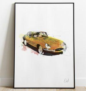 Jaguar E-Type - E's are Good art print