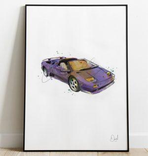 Lamborghini Diablo - The Little Devil art print