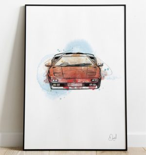 Lamborghini Diablo - The Devil Wears Orange art print