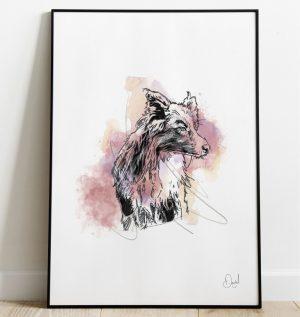 Collie dog - Collie Wobbles art print