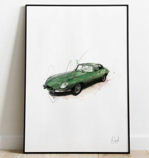 Jaguar E-Type - E's and Whizz art print
