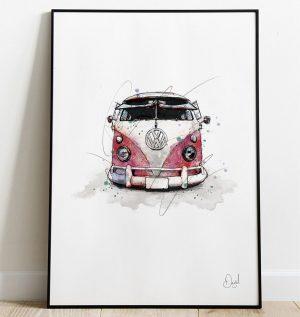 Volkswagen Campervan Type 2 - Bus people art print