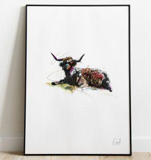 Big Broon Coo - Highland Cow art print