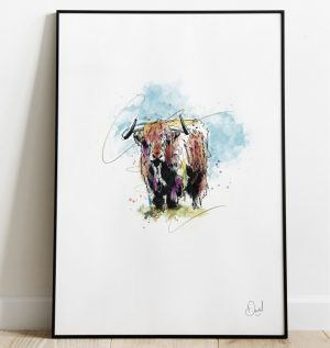 The Hairy Coo - Highland Cow art print