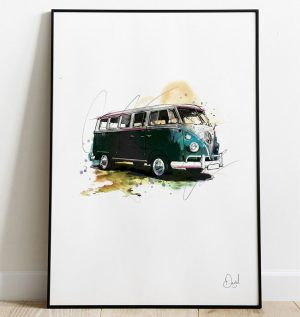 Volkswagen Campervan Type 2 - Camped out art print