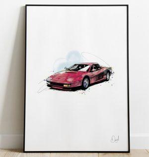 Ferrari Testarossa - Redhead art print