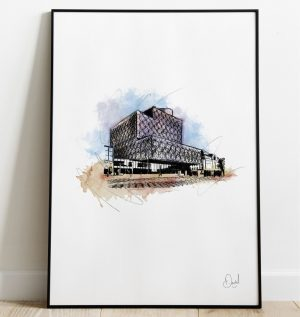Birmingham Library - Throwing the book at it art print