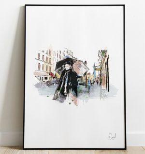It's raining in Paris - Paris art print