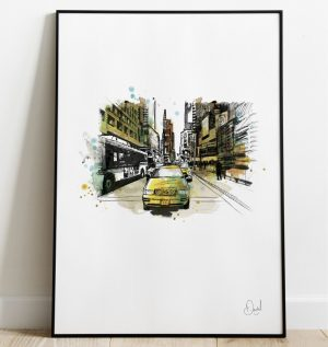 New York - Taxi to Times Square art print