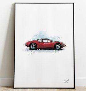 Ferrari Dino - Rosso art print