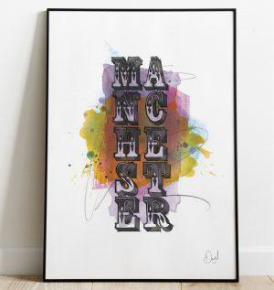Manchester - Circus Typographic art print