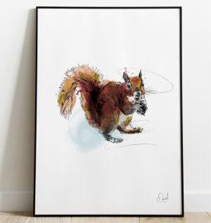 Squirrel away - Squirrel art print