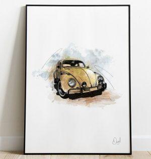Volkswagen Beetle Type 1- Bugga art print