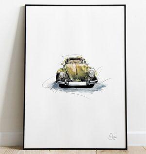 Volkswagen Beetle Type 1- What's Bugging You art print