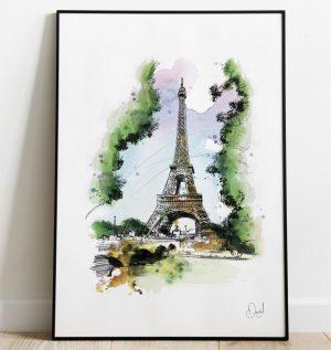 Paris Eiffel Tower - Springtime in Paris art print