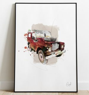 Land Rover Defender - The last defence - Red art print