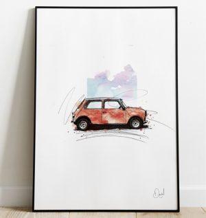 Classic Mini - Rouge art print