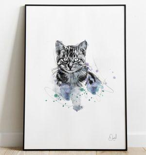 Grey Tabby Cat art print