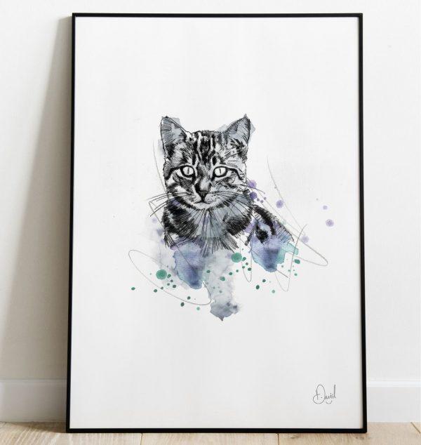 David Marston Art - Cats - Grey Tabby