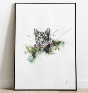 Cat in the Long Grass art print