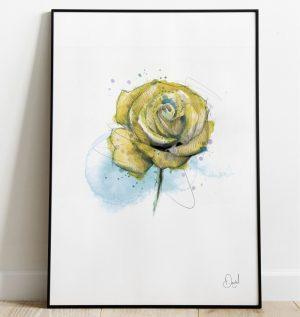 Yellow Rose floral art print