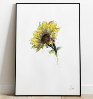 Large Sunflower floral art print