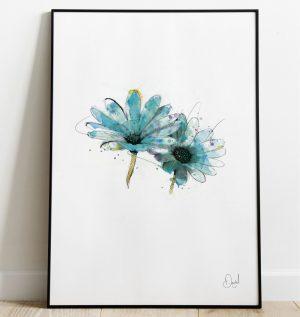 Daisy - True Blue floral art print
