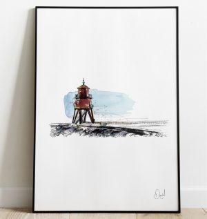 Newcastle - South shields - Herd Groyne Lighthouse art print