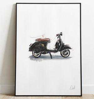 Vespa GS - Black and Tan art print