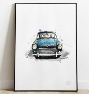 Classic Mini - feeling blue art print