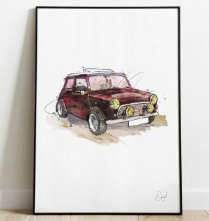 Classic Mini - Red Devil art print