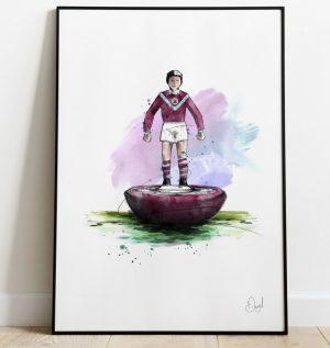 Burnley FC - Retro Subbuteo art print
