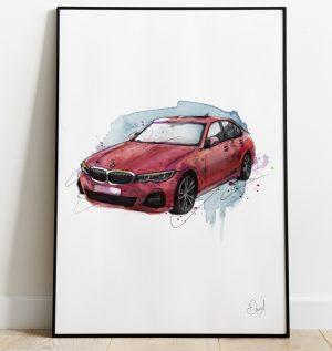 BMW 3 Series - Melbourne Red art print