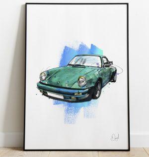 Porsche 911 - Wimbledon Blue art print