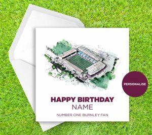 Burnley, Turf Moor, personalised birthday card