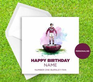 Burnley, Subbuteo, personalised birthday card