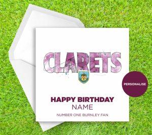 Burnley, Clarets, personalised birthday card