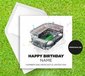 Newcastle United, St James' Park, personalised birthday card