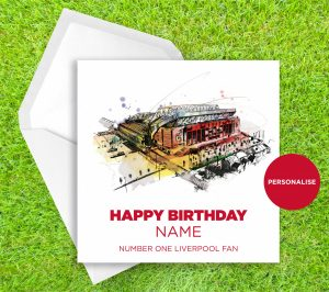 Liverpool FC, Anfield, personalised birthday card
