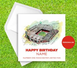 Manchester United, Old Trafford, personalised birthday card